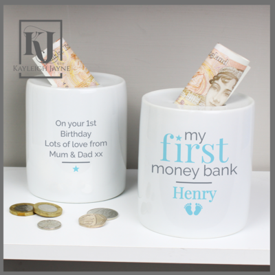 Personalised My First Money Bank Ceramic Money Box (Pink Or Blue)