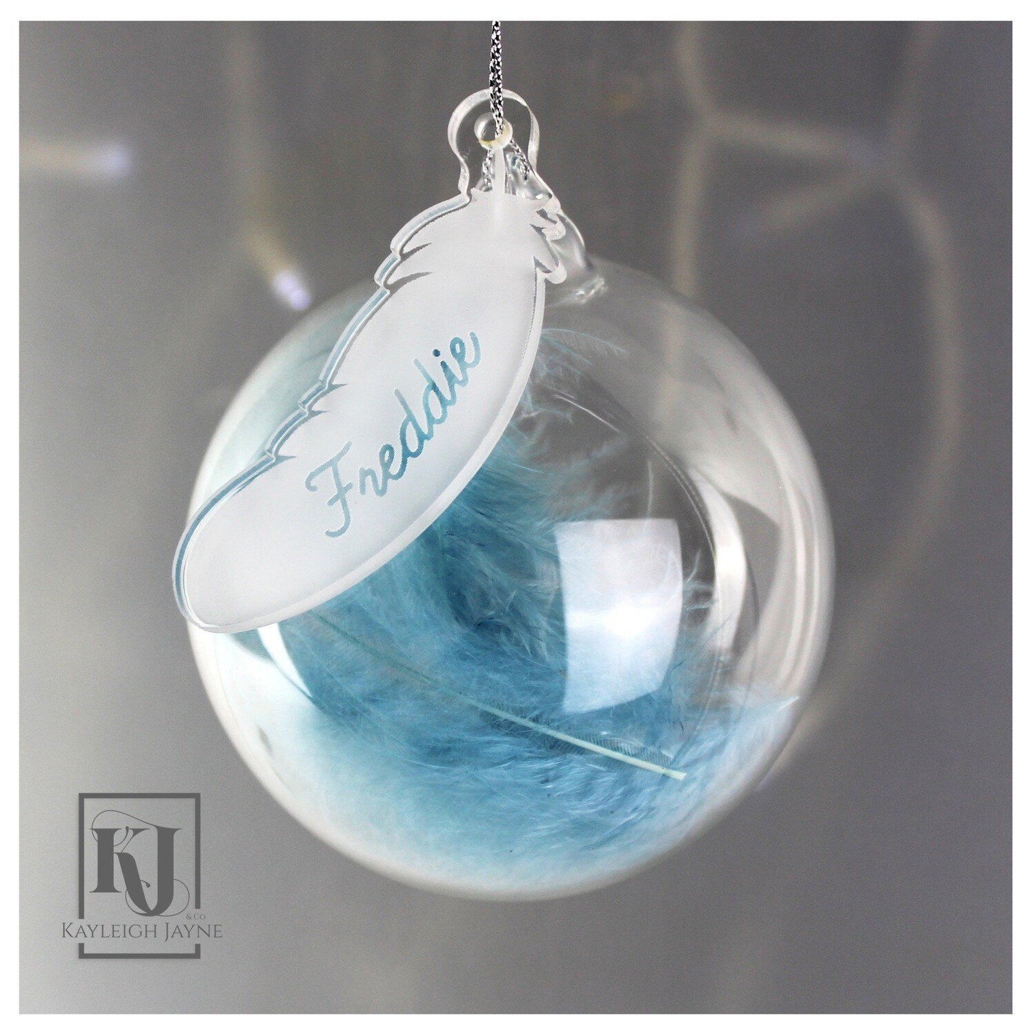 Personalised Glass Feather Bauble Handmade
