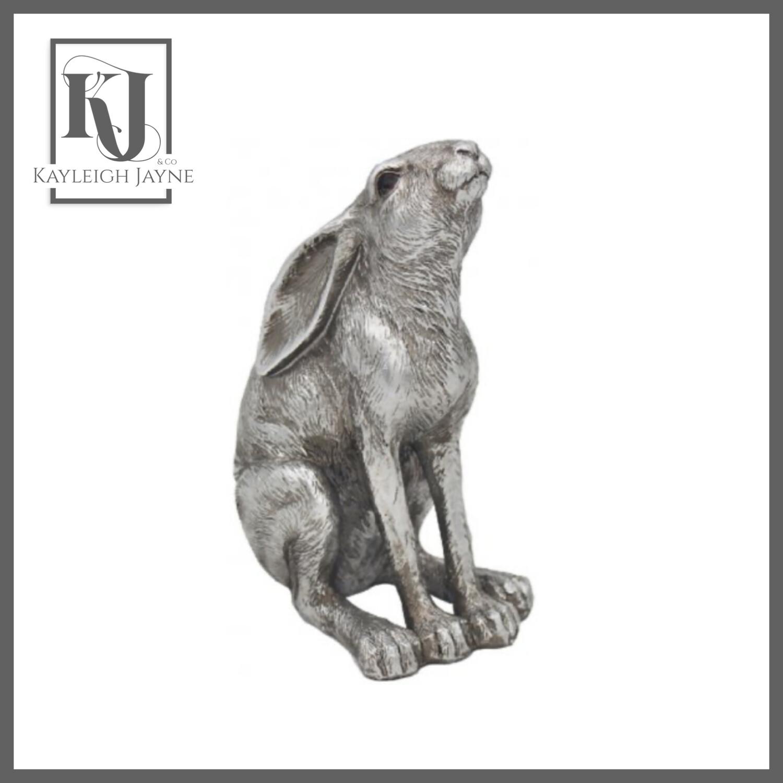 Small Moon Gazing Hare - Silver Tone