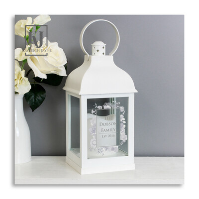 Personalised Lantern - Soft Watercolour Flowers With LED cnadle