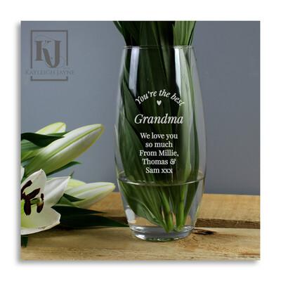 Personalised Glass Bullet Vase For Flowers