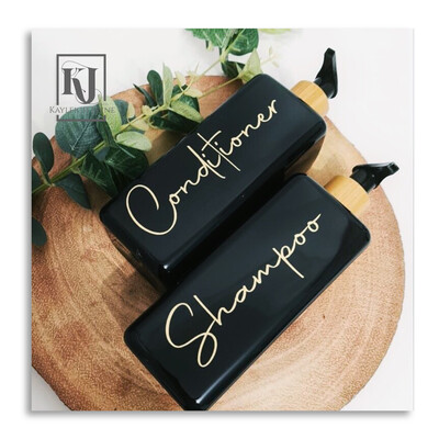 Black Square 500ml Bottles With Bamboo Pump