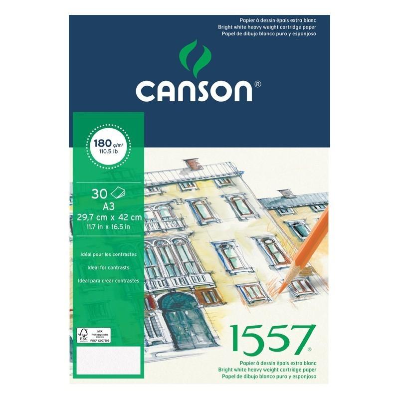 Альбом 1557 Canson склейка, 180гр/м, малое зерно, A3, 30л