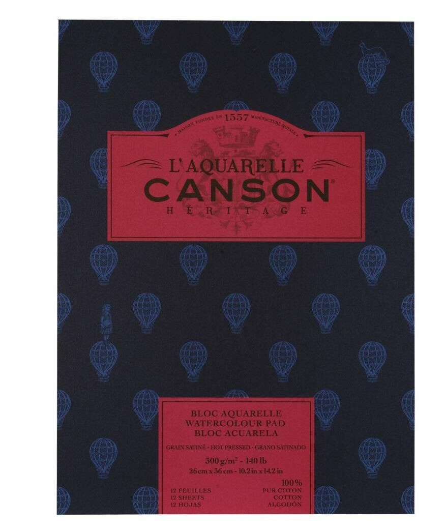 """Canson Heritage Watercolour Pad - 12 Sheets - 300gsm - 9"""" x 12"""" (23 x 31cm) - ROUGH"""