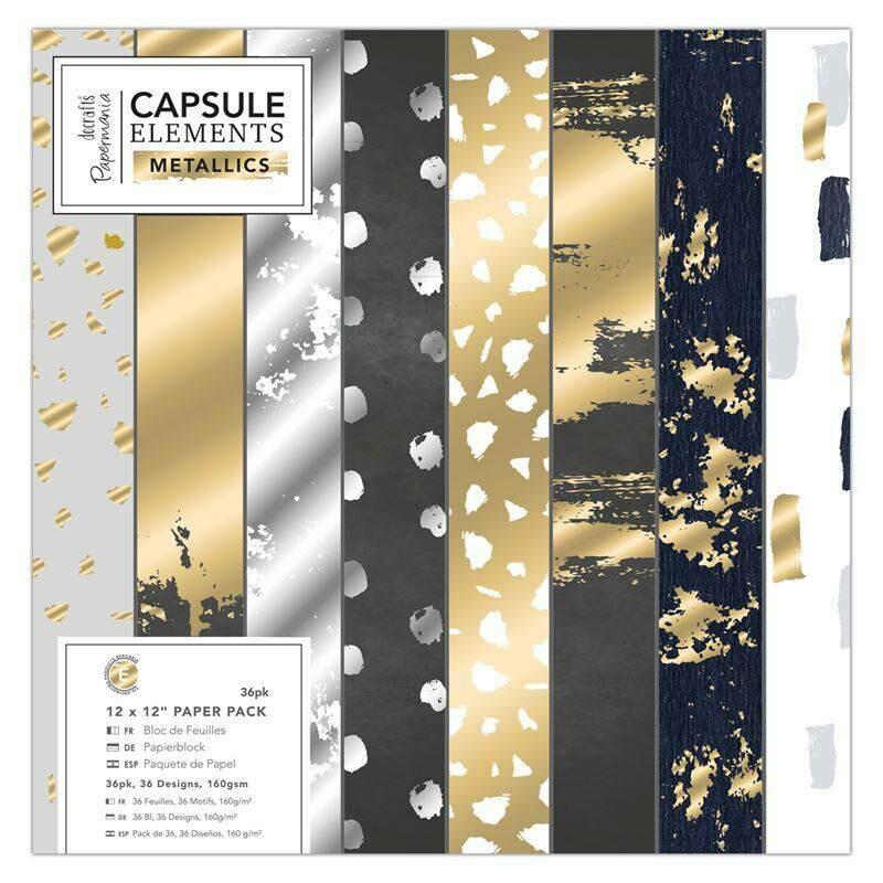 Набор бумаги 30х30 см Capsule Elements Metallic , 36 листов