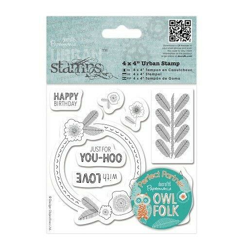 "Набор штампов DOCRAFTS 4 x 4"" Urban Stamp - Owl Folk - Sentiments"