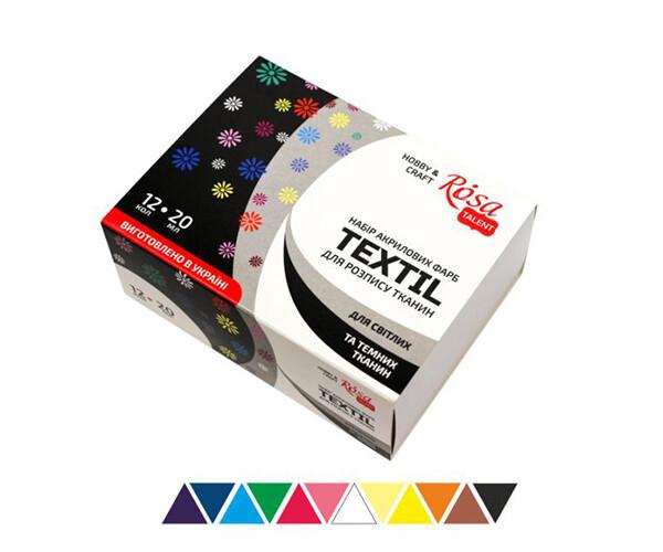 Set de culori acrilice pentru textil Rosa 12cul*20ml