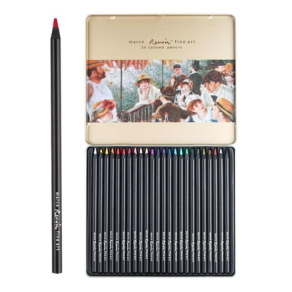 Набор акварельных карандашей, 24 шт. в металлическом пенале, Marco Renoir