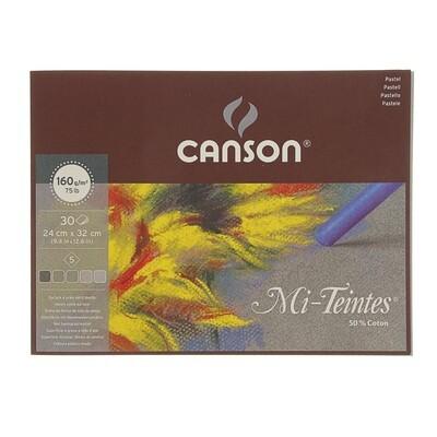 Склейка листов Canson Mi-Teintes® 160гр, 24х32, 30 листов, 5 цв.