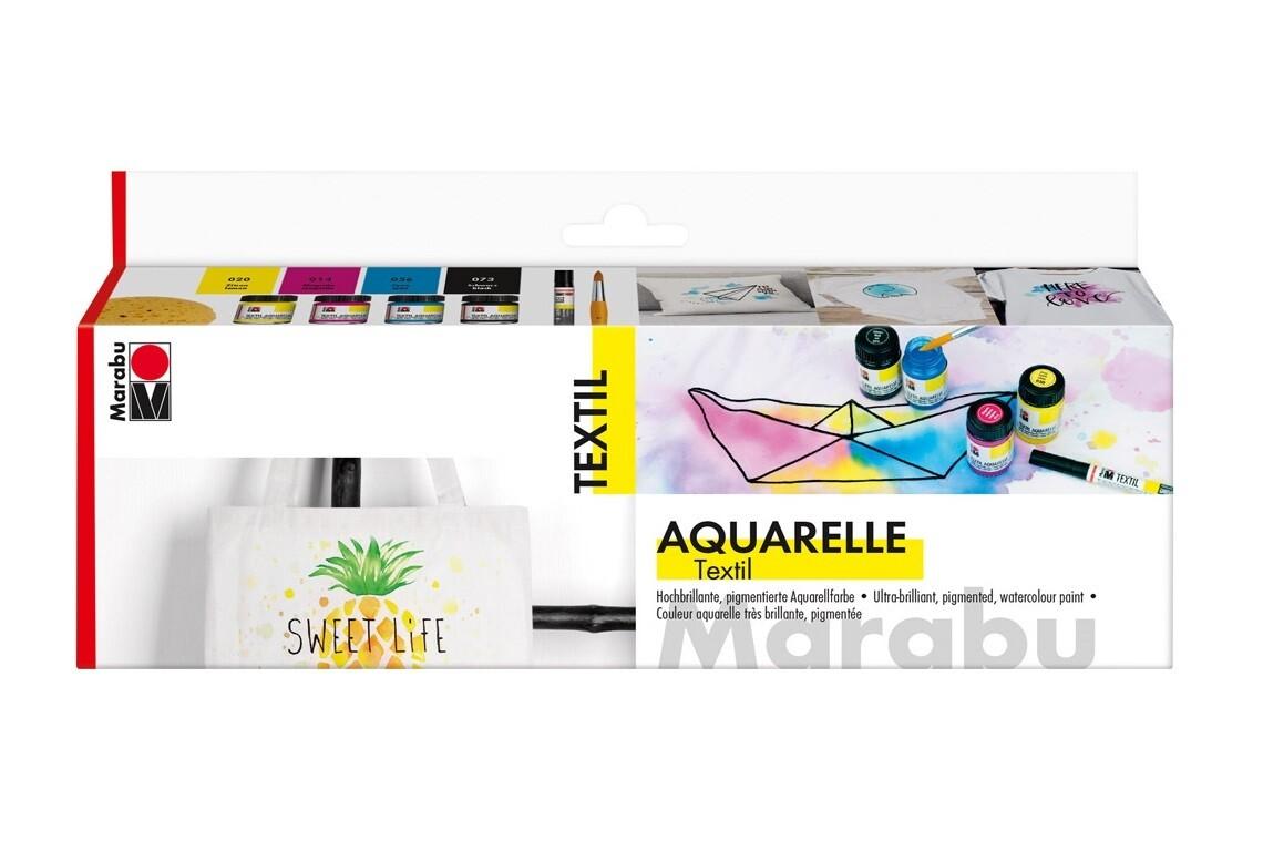 Set Marabu Textil Aquarelle ( 4 culori + marker)