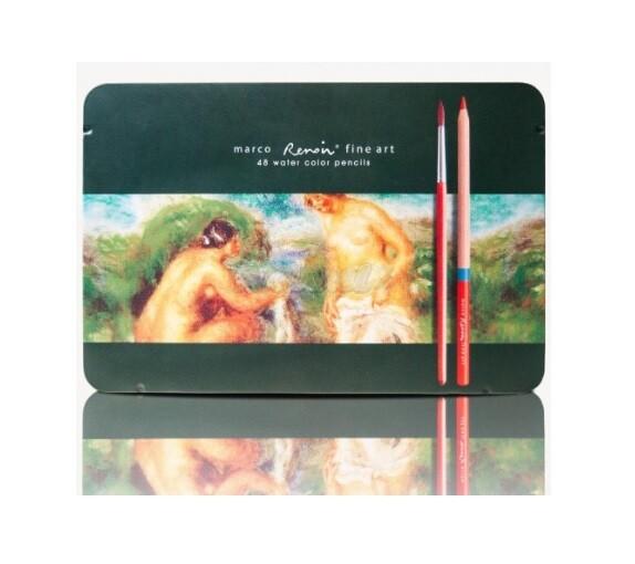 Набор акварельных карандашей, 48 шт. в металлическом пенале, Marco Renoir