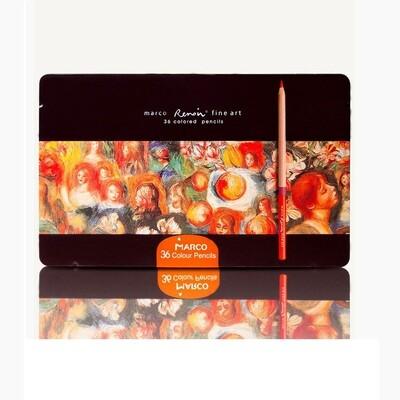 Набор цветных карандашей, 36 шт. в металлическом пенале, Marco Renoir