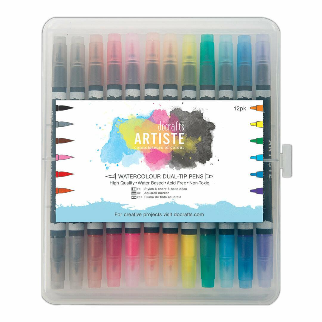 Dual Tip Brush Markers (12pcs) - Watercolour