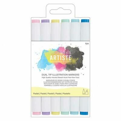 Маркеры для иллюстраций Docrafts Dual Tip Pastels 6 шт