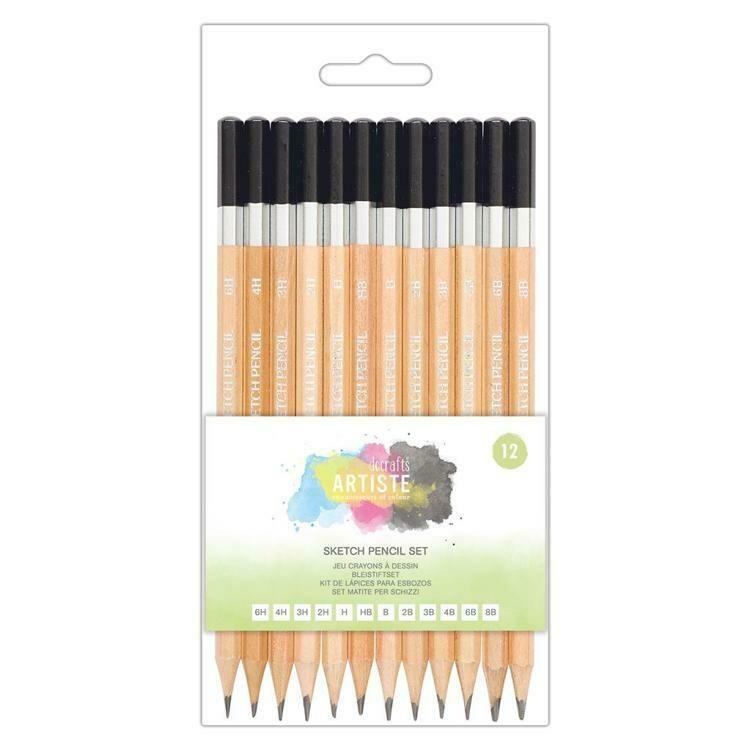 Набор графитовых карандашей для набросков Docrafts Artiste 12 шт