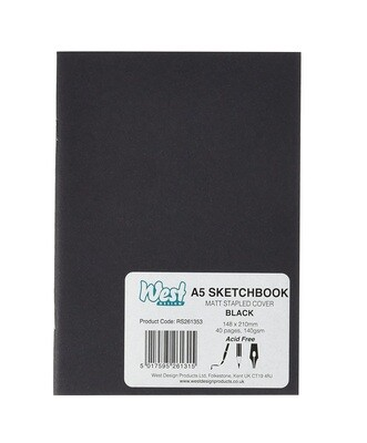 Блокнот черный ламинированный West Design А5 (40 стр)