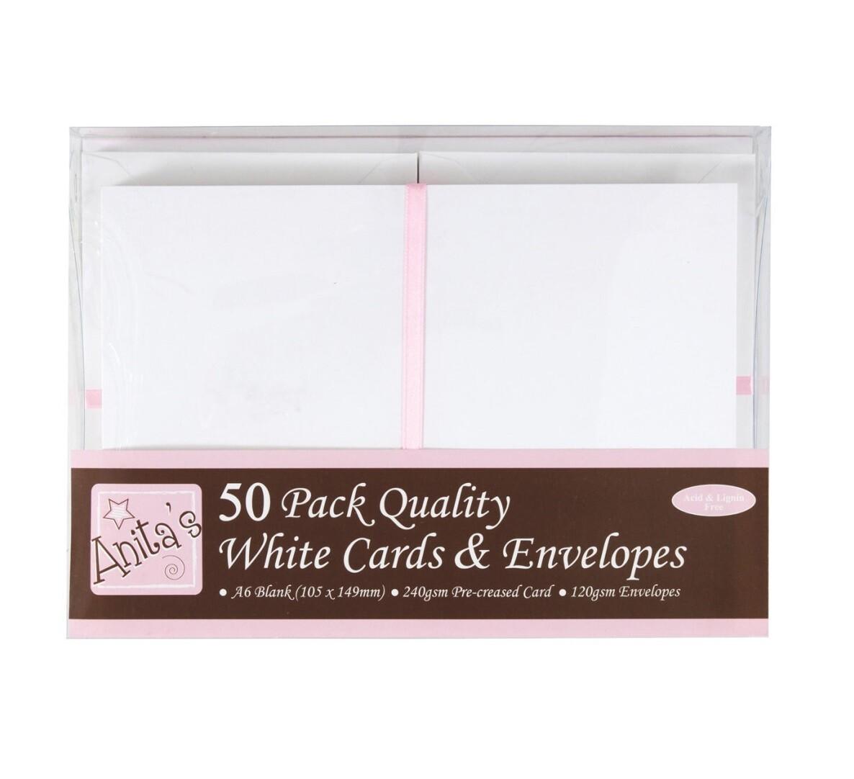 Конверты + заготовка для открыток А6 Docrafts (50 шт) - белые