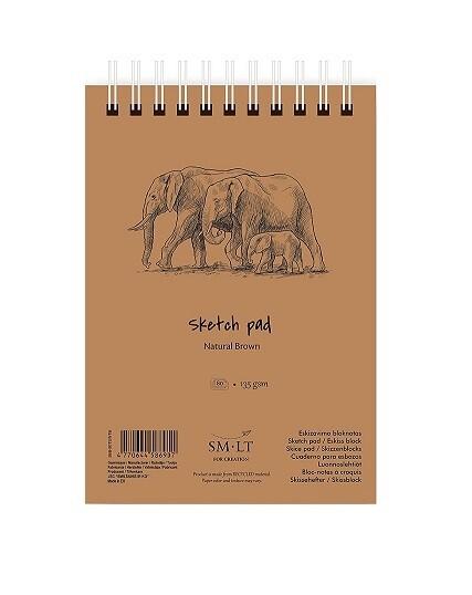 Альбом для эскизов на спирали Smiltainis  А4 135г/м2 80 л (коричневая бумага)