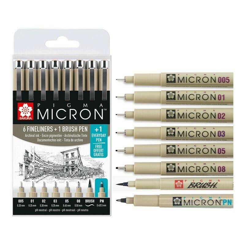 Набор лайнеров Sakura Pigma Micron 6 шт + Pigma Brush + EveryDay Pen