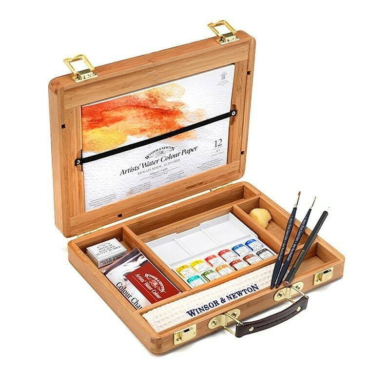 Set de acuarela Winsor&Newton Professional Bamboo Box - Half Pan, 12 cul