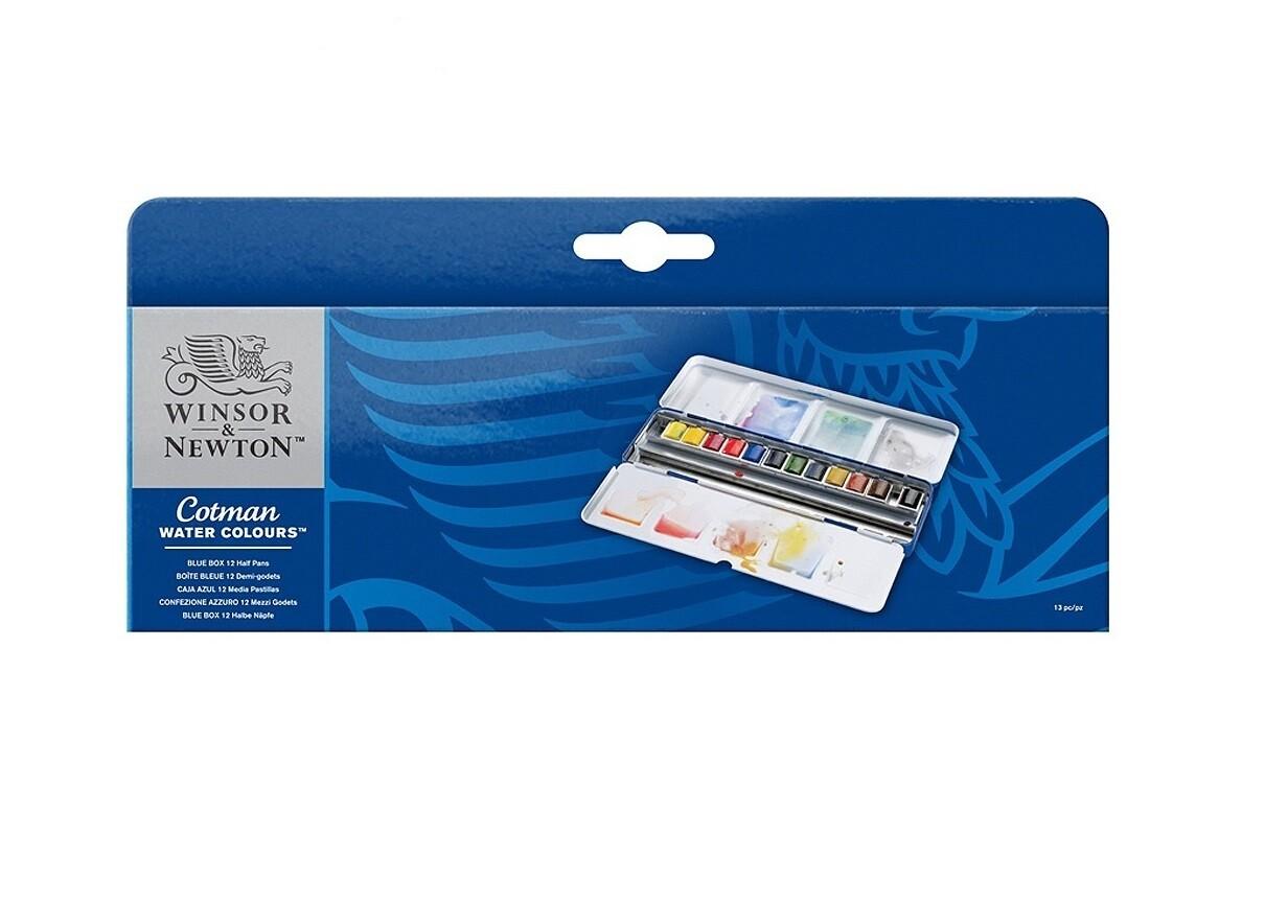 Набор акварели Winsor&Newton Cotman, Blue Box, 12 цветов