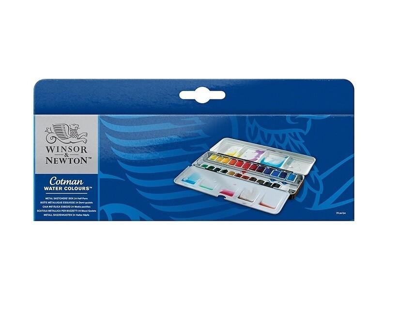 Набор акварели Winsor&Newton Cotman, Metal Sketchers' Box, 24 цвета