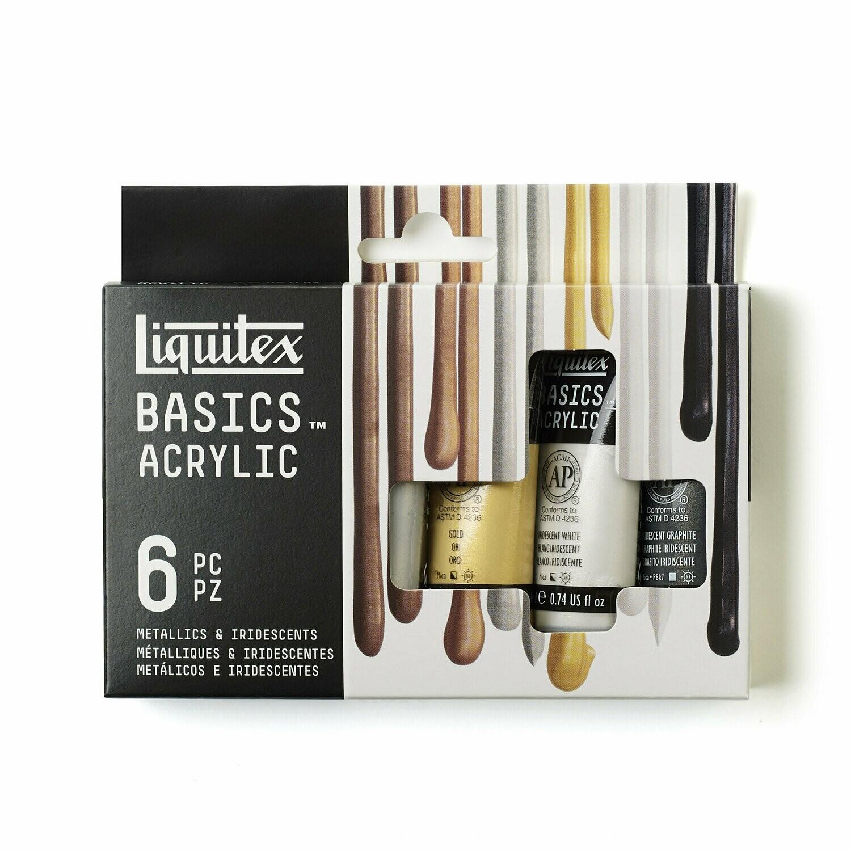 Набор акриловых красок Liquitex Metallic & Iridescent 6 шт * 22 мл