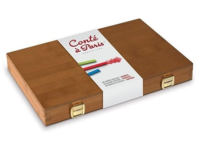 Набор пастельных мелков Conte a Paris в бамбуковой коробке 48 цв