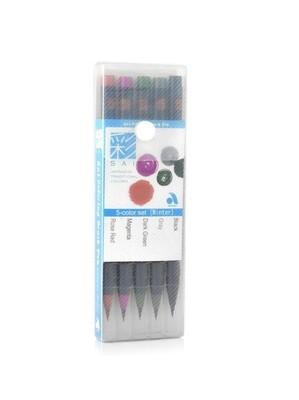Набор акварельных маркеров - кистей Sai (5 шт, зимние цвета)