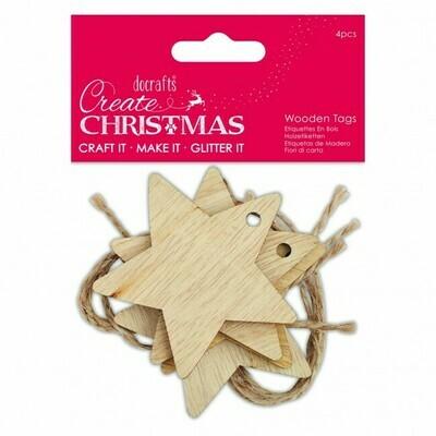 Деревянные звезды Create Christmas 4 шт, 6 см