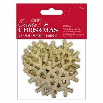 Деревянные звезды Create Christmas с блестками 12 шт, 5 см