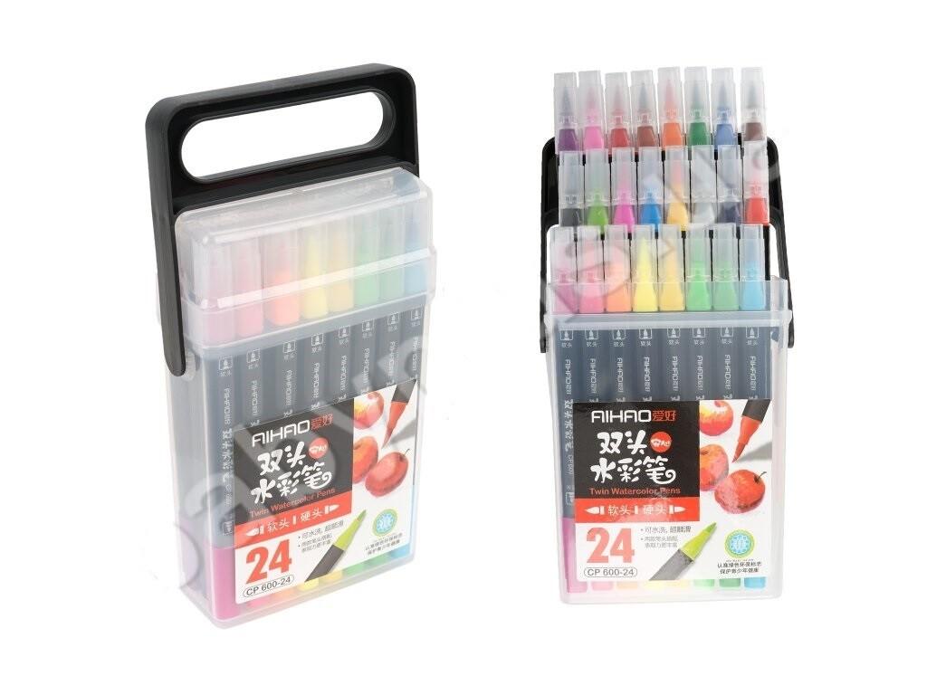 Набор двухсторонних маркеров Aihao 24 цвета
