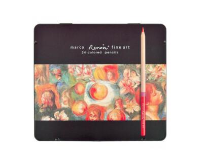 Набор цветных карандашей, 24 шт. в металлическом пенале, Marco Renoir