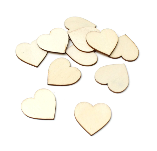 Сердечки из дерева Wooden Hearts 2см 50шт