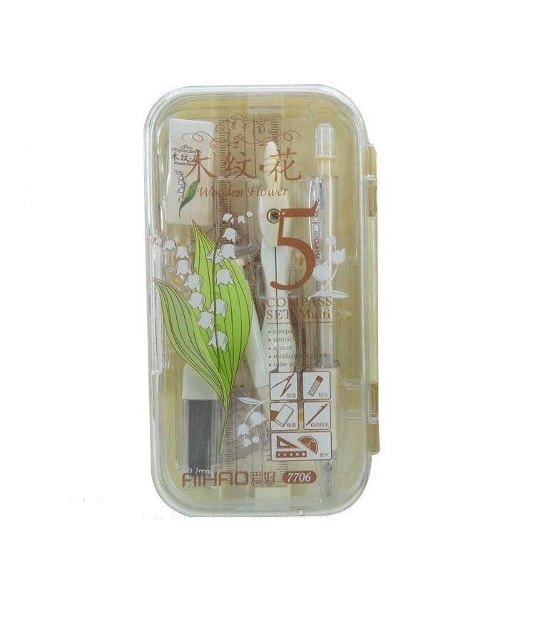 Набор чертежный Aihao (готовальня) 5 предметов