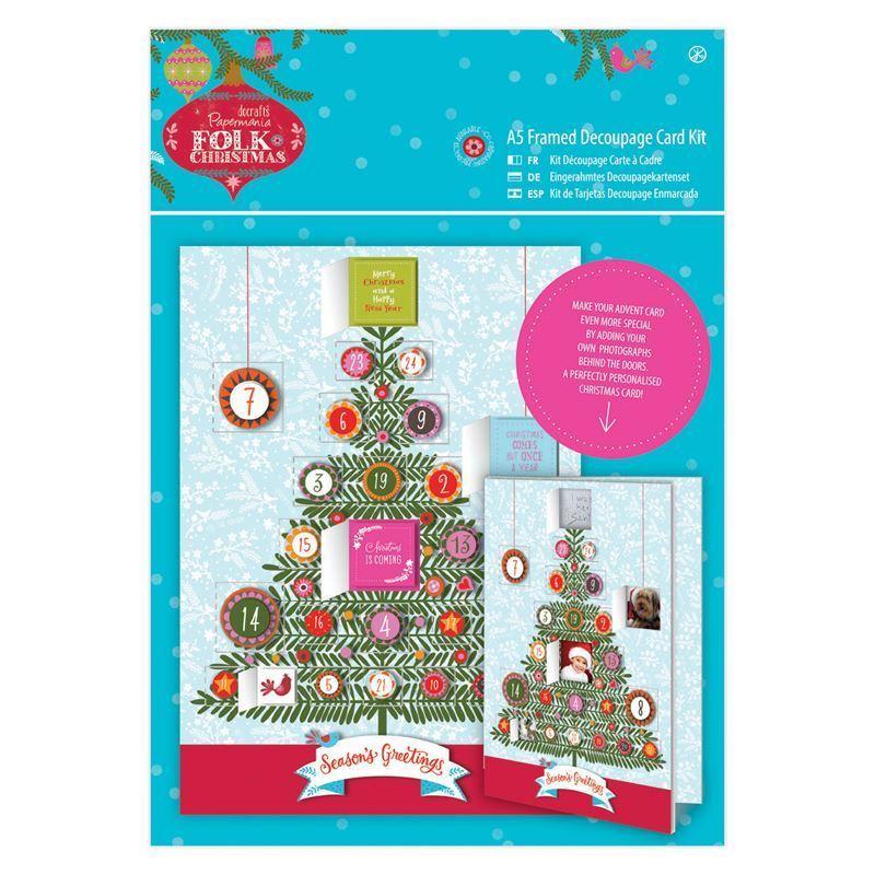 Открытка A5 Framed Decoupage Card Kit Linen - Folk Christmas - Advent
