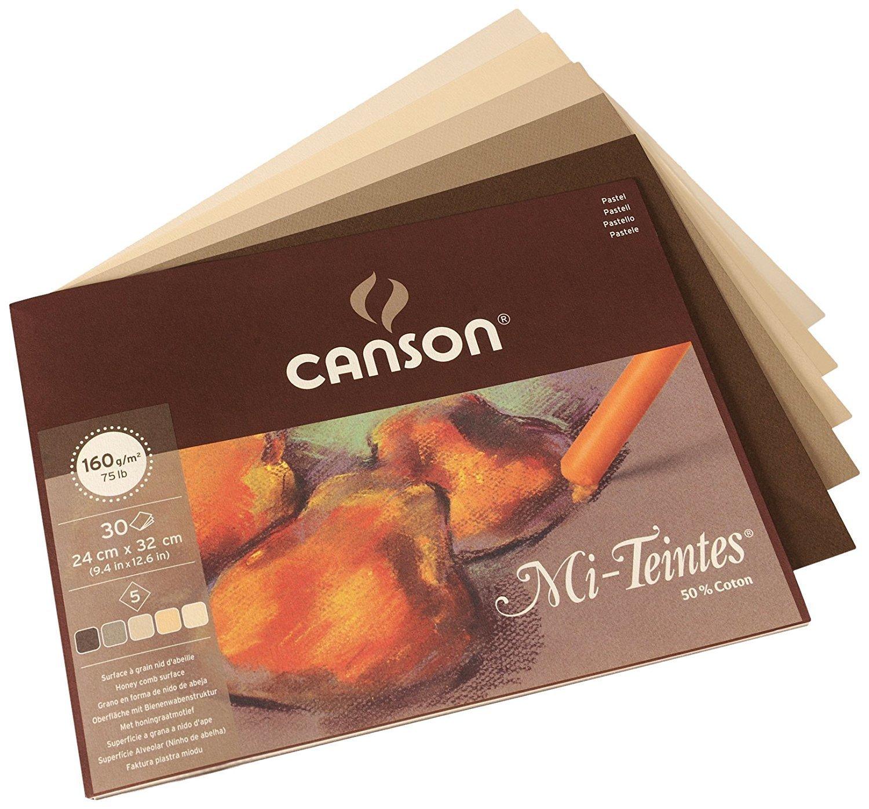 Склейка листов CANSON Mi-Teintes® 160гр,21х32, 30 листов, 5 цв.