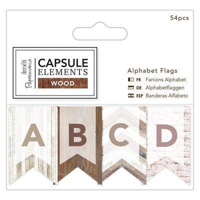 Флажки из бумаги Alphabet Flags (54шт) - Elements Wood
