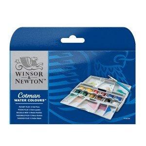 Набор акварельных красок Winsor Cotman Half Pan Studio Set, 12 шт+кисть