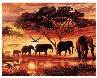 Paint By Number Kit African Sunset 40 x 50cm