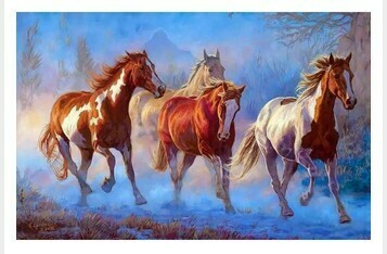 Paint by Numbers Kit Galloping horses 40 x 50cm
