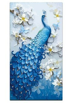 Paint by Numbers Peacock with flowers 40 x 50cm
