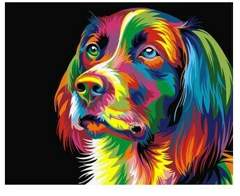 Paint by Numbers Psychedelic dog 40 x 50cm