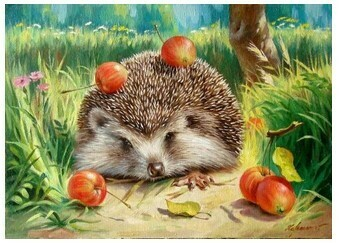 Paint by Number Kit Hedgehog 40 x 50cm