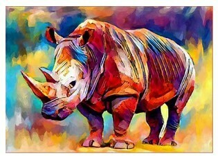 Paint by Numbers Psychedelic Rhino 40 x 50cm