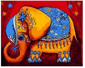 Paint by Number Kit Indian elephant 40 x 50cm