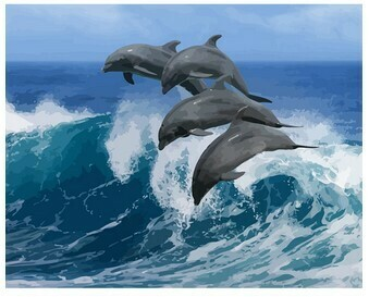 Paint by Numbers Kit Dolphins in the Waves 40 x 50cm
