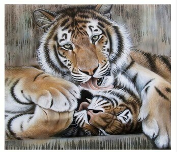 Paint by Numbers Tigers playing 40 x 50cm