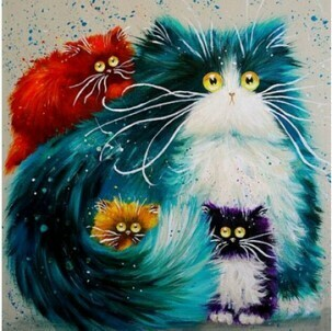 Paint by Numbers Kit Funky cats 40 x 50cm
