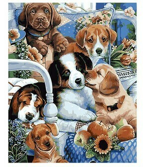 Paint by Numbers Puppies playing 40 x 50cm